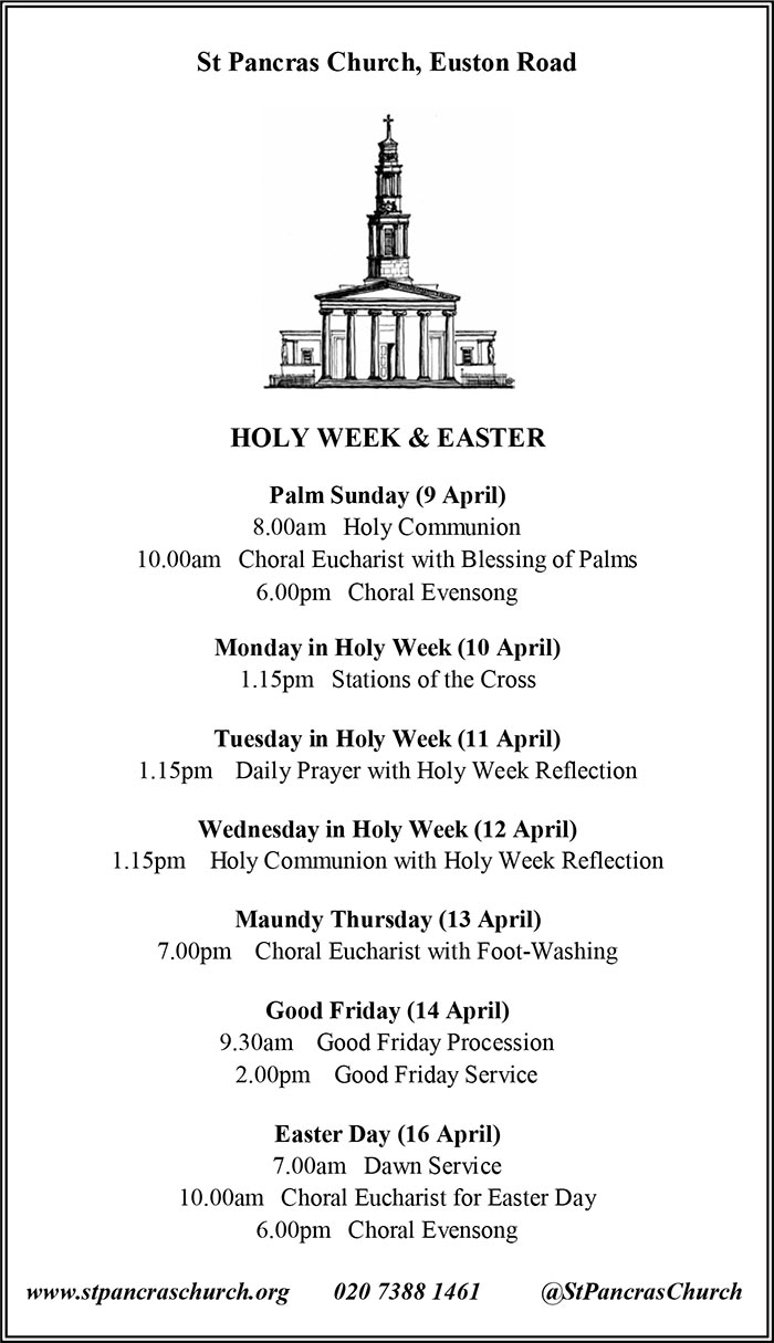 holy week & easter at st pancras church 2017
